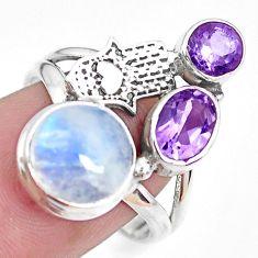 Natural rainbow moonstone 925 silver hand of god hamsa ring size 7.5 p42899