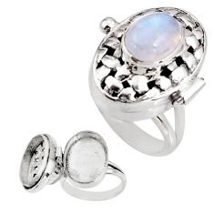 4.10cts natural rainbow moonstone 925 silver poison box ring size 7 p92857