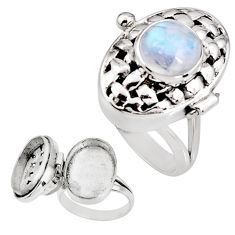 4.51cts natural rainbow moonstone 925 silver poison box ring size 8 p92859