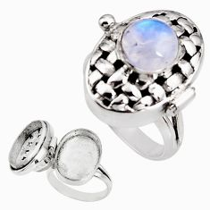4.81cts natural rainbow moonstone 925 silver poison box ring size 9 p92860