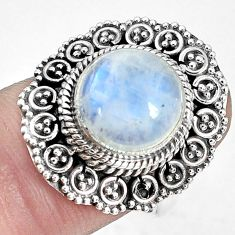 5.66cts natural rainbow moonstone 925 silver solitaire ring size 7 p33212
