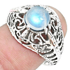 2.69cts natural rainbow moonstone 925 silver solitaire ring size 8 p36237
