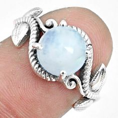 3.36cts natural rainbow moonstone 925 silver solitaire ring size 6 p36254