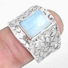 4.40cts natural rainbow moonstone 925 silver solitaire ring size 7.5 p51016