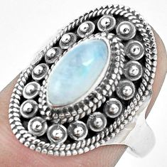 2.46cts natural rainbow moonstone 925 silver solitaire ring size 7.5 p53078
