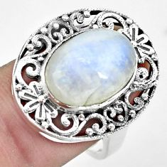 7.13cts natural rainbow moonstone 925 silver solitaire ring size 8 p55900