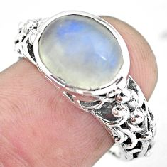 5.75cts natural rainbow moonstone 925 silver solitaire ring size 8 p55999