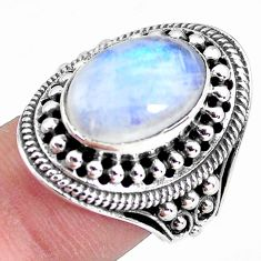 5.81cts natural rainbow moonstone 925 silver solitaire ring size 7 p56039