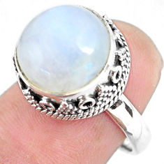 7.02cts natural rainbow moonstone 925 silver solitaire ring size 6.5 p56666