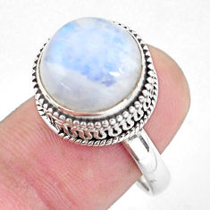 7.10cts natural rainbow moonstone 925 silver solitaire ring size 8 p56721