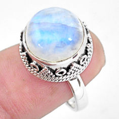 6.32cts natural rainbow moonstone 925 silver solitaire ring size 7 p56726