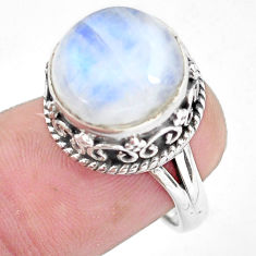 6.76cts natural rainbow moonstone 925 silver solitaire ring size 6.5 p56727