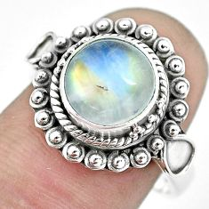 5.12cts natural rainbow moonstone 925 silver solitaire ring size 8 p57670