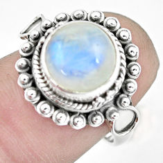 4.93cts natural rainbow moonstone 925 silver solitaire ring size 7 p57672