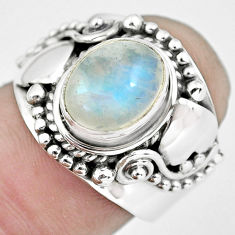 3.41cts natural rainbow moonstone 925 silver solitaire ring size 7 p57697