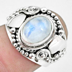 3.16cts natural rainbow moonstone 925 silver solitaire ring size 6.5 p57700