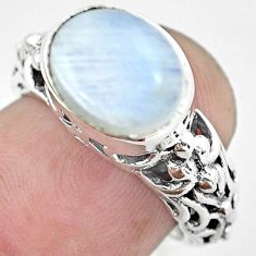 5.51cts natural rainbow moonstone 925 silver solitaire ring size 7 p61239