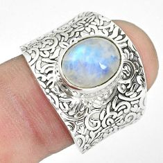 4.38cts natural rainbow moonstone 925 silver solitaire ring size 7.5 p61395