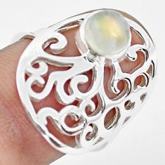 1.17cts natural rainbow moonstone 925 silver solitaire ring size 7.5 p61770