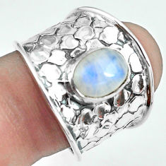 3.27cts natural rainbow moonstone 925 silver solitaire ring size 8 p68480
