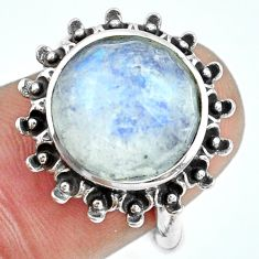 6.74cts natural rainbow moonstone 925 silver solitaire ring size 6 p69839