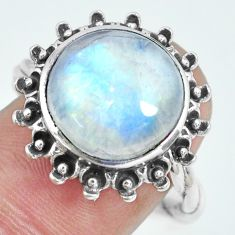7.51cts natural rainbow moonstone 925 silver solitaire ring size 8 p69853
