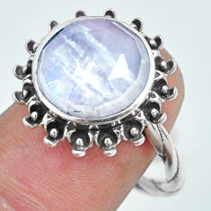 6.98cts natural rainbow moonstone 925 silver solitaire ring size 8 p69854