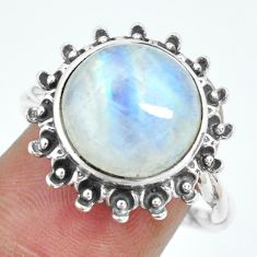 6.62cts natural rainbow moonstone 925 silver solitaire ring size 8 p69859