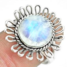 5.52cts natural rainbow moonstone 925 silver solitaire ring size 8 p70059