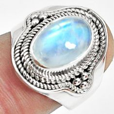 3.91cts natural rainbow moonstone 925 silver solitaire ring size 7 p70123