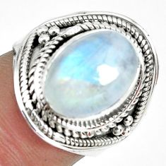 4.71cts natural rainbow moonstone 925 silver solitaire ring size 6.5 p70131
