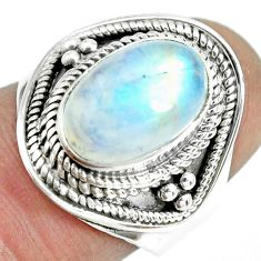 4.70cts natural rainbow moonstone 925 silver solitaire ring size 6.5 p70145