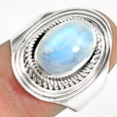 4.22cts natural rainbow moonstone 925 silver solitaire ring size 9 p70156