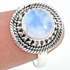 4.69cts natural rainbow moonstone 925 silver solitaire ring size 8.5 p72241