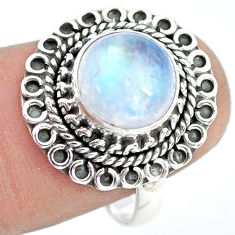4.69cts natural rainbow moonstone 925 silver solitaire ring size 7.5 p72243