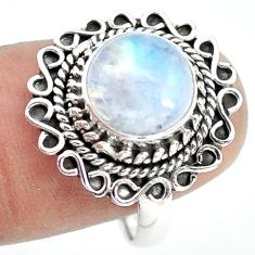 4.69cts natural rainbow moonstone 925 silver solitaire ring size 8.5 p72246