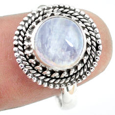 4.69cts natural rainbow moonstone 925 silver solitaire ring size 9 p72248