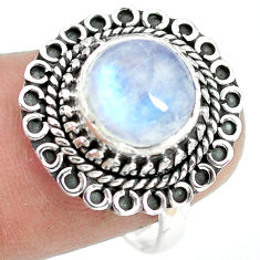 4.69cts natural rainbow moonstone 925 silver solitaire ring size 8 p72251