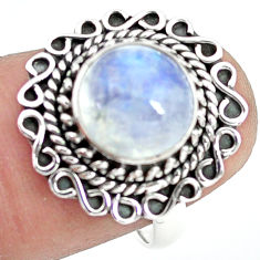 4.69cts natural rainbow moonstone 925 silver solitaire ring size 7.5 p72252