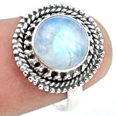 4.43cts natural rainbow moonstone 925 silver solitaire ring size 7.5 p72258