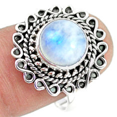 4.93cts natural rainbow moonstone 925 silver solitaire ring size 8 p72267