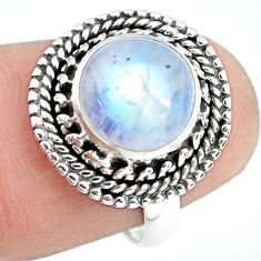 4.42cts natural rainbow moonstone 925 silver solitaire ring size 6.5 p72274