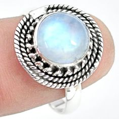 4.48cts natural rainbow moonstone 925 silver solitaire ring size 8.5 p72275