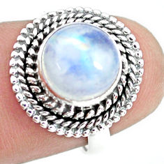 4.69cts natural rainbow moonstone 925 silver solitaire ring size 6.5 p72278