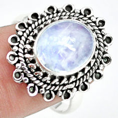 5.38cts natural rainbow moonstone 925 silver solitaire ring size 8.5 p72286