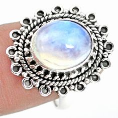 5.28cts natural rainbow moonstone 925 silver solitaire ring size 8 p72291