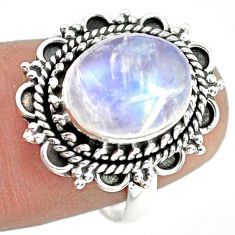 5.63cts natural rainbow moonstone 925 silver solitaire ring size 7 p72295