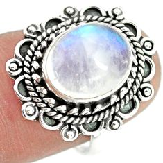 5.63cts natural rainbow moonstone 925 silver solitaire ring size 7 p72297