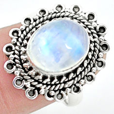 5.16cts natural rainbow moonstone 925 silver solitaire ring size 7 p72303