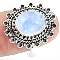 5.13cts natural rainbow moonstone 925 silver solitaire ring size 8.5 p72316